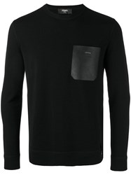 Fendi Leather Pocket Sweater Black