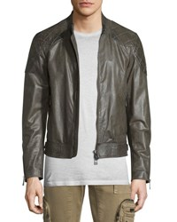Belstaff Lightweight Leather Jacket W Quilted Panels Combat Green