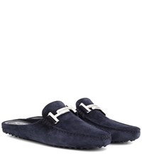 Tod's Exclusive To Mytheresa.Com Gommini Double T Suede Slippers Blue