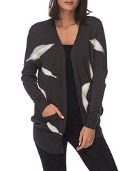 B Collection By Bobeau Plus Loose Fit Printed Cardigan Grey