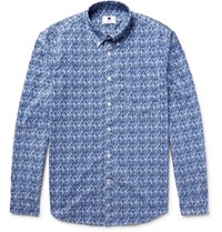 Nn.07 Nn07 Falk Slim Fit Button Down Collar Printed Cotton Poplin Shirt Navy