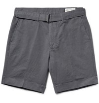 Officine Generale Julian Slim Fit Cotton And Linen Blend Shorts Dark Gray