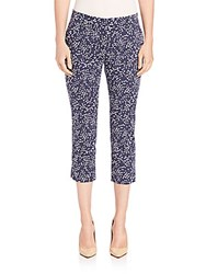 Peserico Cropped Mini Brushtroke Print Pants Navy
