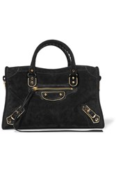Balenciaga Metallic Edge City Small Suede Tote Black