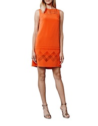 Julia Jordan Laser Cut Shift Dress Cerise