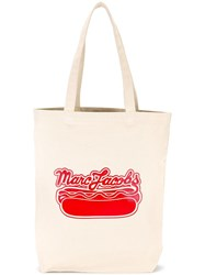 Marc Jacobs Logo Hot Dog Print Tote Nude Neutrals
