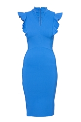 Indulgence Fitted Frills Side Dress Blue