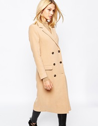 Missguided Premium Double Breasted Tailored Long Coat Camel