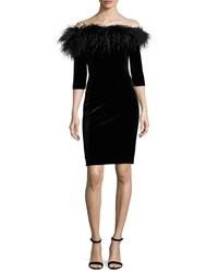 5aaf7570e995 Rickie Freeman For Teri Jon 3 4 Sleeve Feather Trim Off The Shoulder Velvet  Cocktail Dress