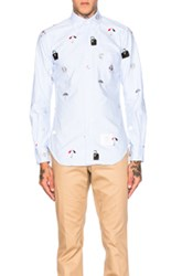 Thom Browne Icon Embroidery Oxford Shirt In Blue