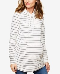 Motherhood Maternity French Terry Hoodie Grey White Stripe