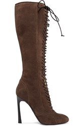 Giambattista Valli Lace Up Suede Knee Boots Chocolate