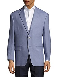 Lauren Ralph Lauren Solid Linen Jacket Light Blue