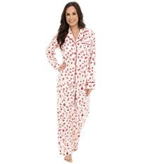 Carole Hochman Flannel Pajama Holiday Pearls Ivory Women's Pajama Sets Pink