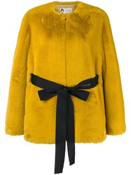 Lanvin Faux Fur Belted Jacket Yellow And Orange