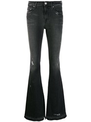 Don't Cry Distressed Flared Jeans Black