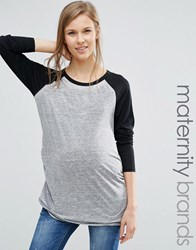 New Look Maternity Raglan Sleeve T Shirt Charcoal Grey