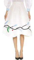 Vika Gazinskaya Knee Length Skirt White Multi