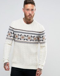 Asos Lambswool Rich Jumper With Cable And Fairisle White