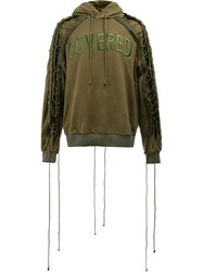 Juun.J Lace Up Sleeves Hoody Green