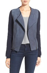 Women's Elie Tahari 'Joplin' Merino Knit And Lambskin Leather Jacket Bold Blue