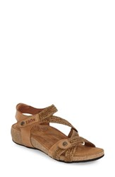 Women's Taos 'Trulie' Wedge Sandal Camel Leather