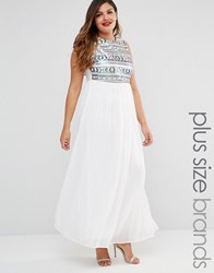 Club L Plus Maxi Dress With Sequin Top White