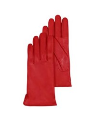 Forzieri Red Leather Women's Gloves W Cashmere Lining