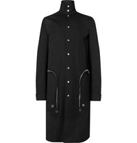 Rick Owens Leather Trimmed Cotton Blend Canvas Trench Coat Black