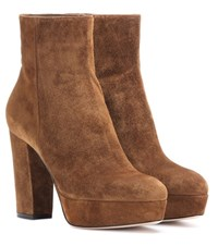 Gianvito Rossi Temple Suede Platform Boots Brown