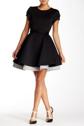 Gracia Fit And Flare Scuba Dress Black