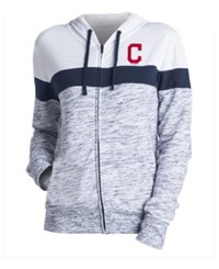 5Th And Ocean Women's Cleveland Indians Space Dye Hoodie Navy White