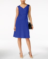 Ny Collection Faux Wrap Crossover Dress Victora Blue