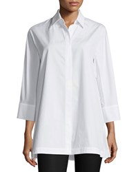 Max Mara Oversized 3 4 Sleeve Cotton Blouse White Size 2 Optic White