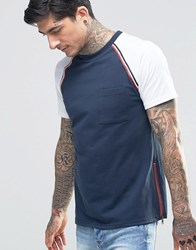 Another Influence Raglan Sleeve T Shirt With Chest Pocket Navy