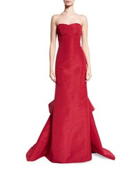 Oscar De La Renta Strapless Silk Faille Gown W Ruffled Train Red