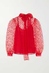 Costarellos Pussy Bow Polka Dot Flocked Tulle Blouse Red