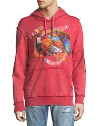 Prps Feather Embroidered Distressed Logo Hoodie Orange