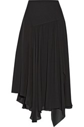 Chloe Asymmetric Silk Blend Georgette Midi Skirt Black