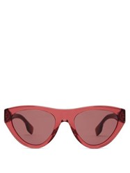Burberry Flat Top Cat Eye Acetate Sunglasses Red