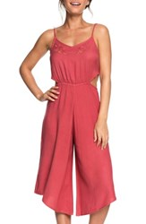 Roxy Waterfall Reflect Wide Leg Crop Jumpsuit Holly Berry