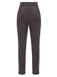 Saint Laurent Tailored Wool Flannel Trousers Grey