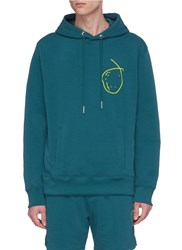 Rochambeau X Aaron Curry Abstract Graphic Embroidered Hoodie Green