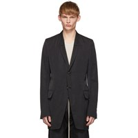 Rick Owens Black Textured New Soft Long Blazer