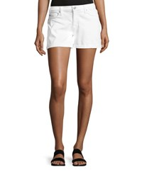 Hudson Asha Mid Rise Cuffed Denim Shorts White