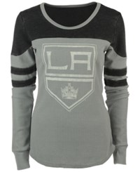 G3 Sports Women's Los Angeles Kings Hat Trick Thermal Long Sleeve T Shirt Gray Black