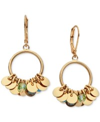 Lonna And Lilly Shaky Disc Crystal Drop Hoop Earrings Gold