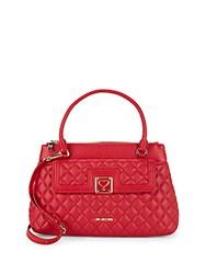 Love Moschino Quilted Faux Leather Satchel Red