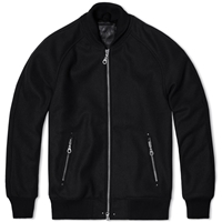 Mki Black Wool Raglan Varsity Jacket