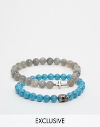 Simon Carter Semi Precious Bracelet Pack Exclusive To Asos Grey